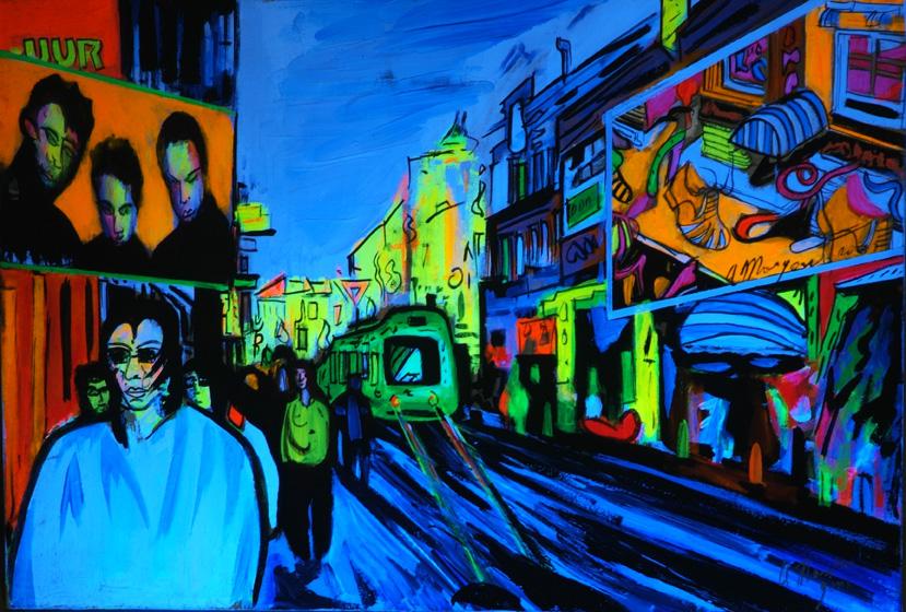 Alfonso Mangone tempera fluorescente su legno - 30x44