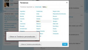 tendenze personalizzate twitter